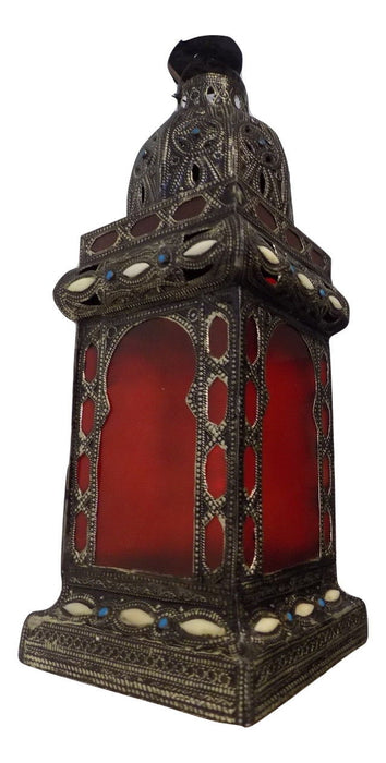 Moroccan Hanging Pendant Lantern Antique Finish & Glass Tin Lamp