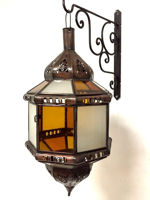 Moroccan Hanging Pendant Lantern Carved Brass Finish Frosted & Amber Glass Lamp