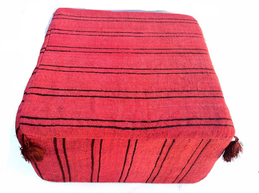 Moroccan Hand Woven Kilim Wool Square Ottoman Pouf Chair in Red-Black