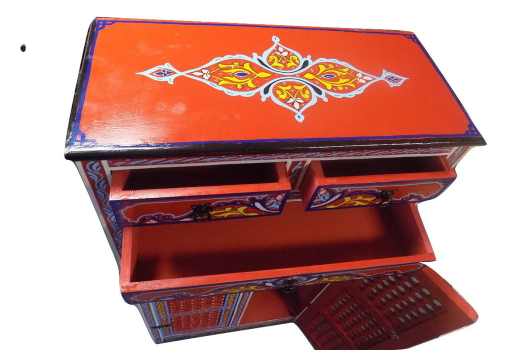 Handpainted Moroccan Cabinet Handmade Red