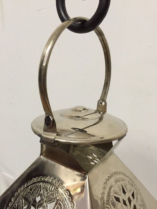 Moroccan Star Lantern Silver Metal & Glass Hanging Votive Candle Lamp