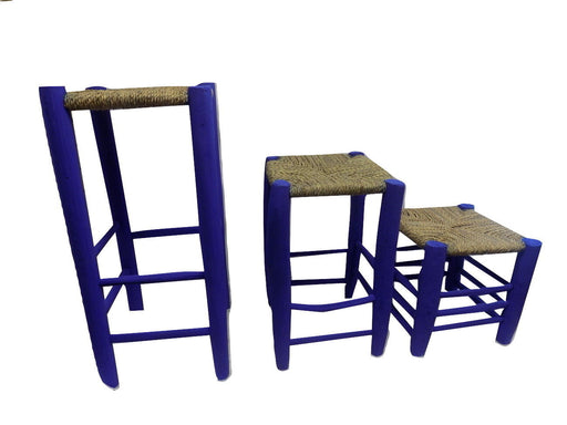 Set of 3 Moroccan Garden wooden stools