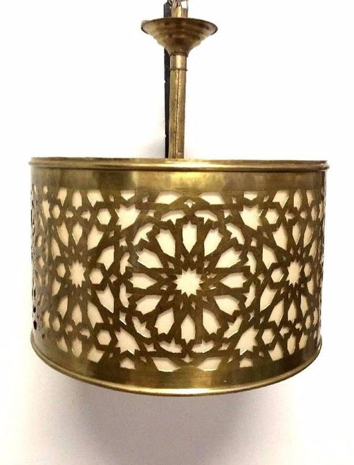 Moroccan Hanging Pendant Lantern Carved Brass Metalwork Round Lamp Fixture