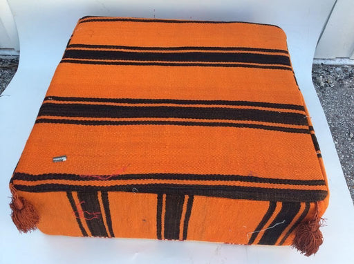 Moroccan Hand Woven Kilim Wool Square Ottoman Pouf Chair in Black & Orange