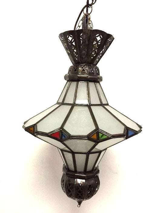 Moroccan Hanging Pendant Lantern Carved Bronze Frosted & Stained Glass Lamp