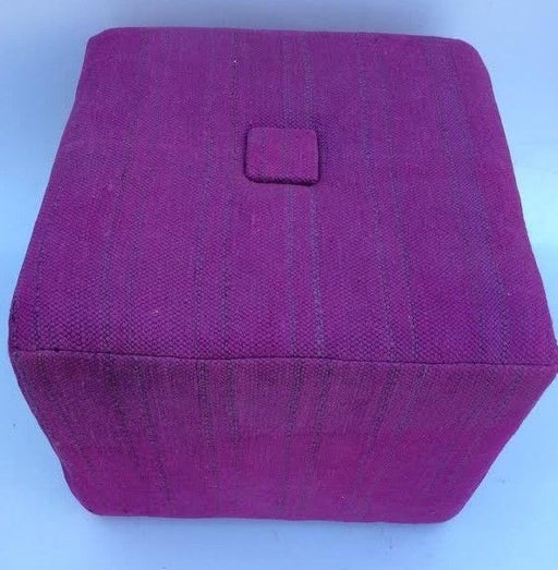Moroccan Handwoven Kilim Wool Square Small Ottoman Chair Pouf Purple
