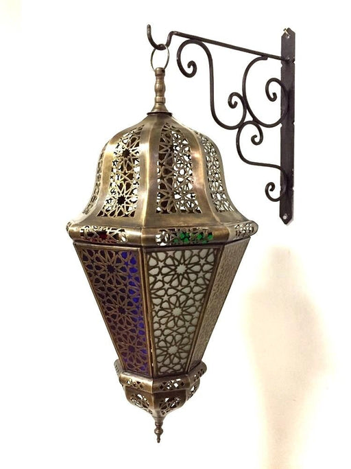 Moroccan Hanging Pendant Lantern Carved Brass Finish Stained Glass Lamp