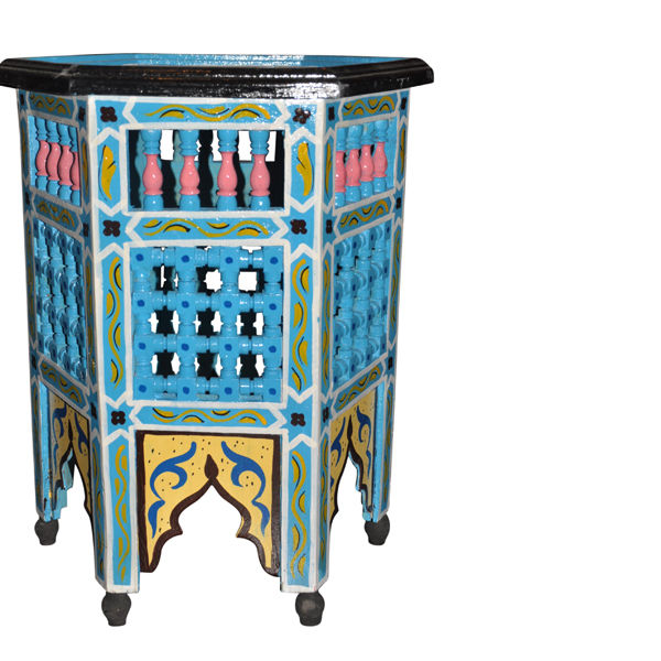 Moroccan Octagonal Moucharabieh Handpainted Table Design Furniture