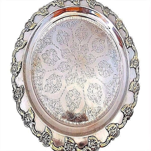 Antique Traditional Tray  Moroccan Engraved Two Tone Finished Serving Tray
