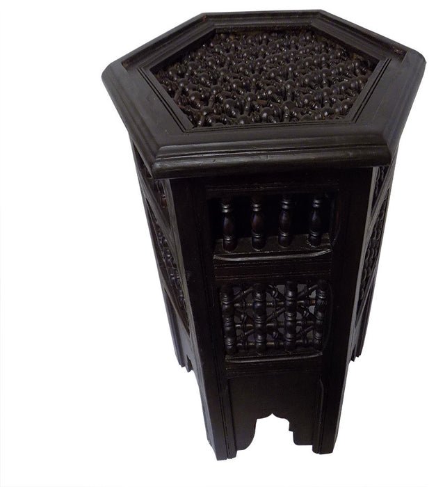 Brown Moroccan Octagonal Moucharabieh Side Table