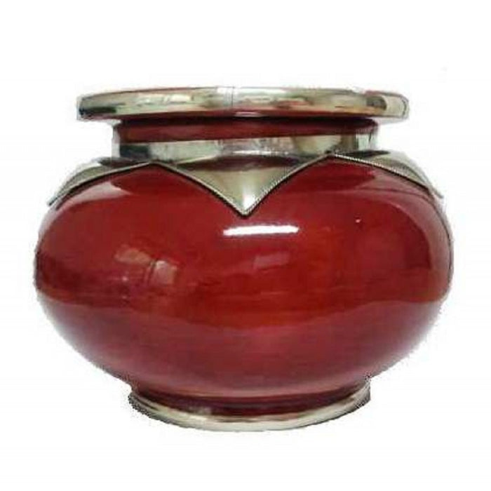Moroccan Lidded Ashtray Glazed Terracotta & Metalwork Decorated red XL
