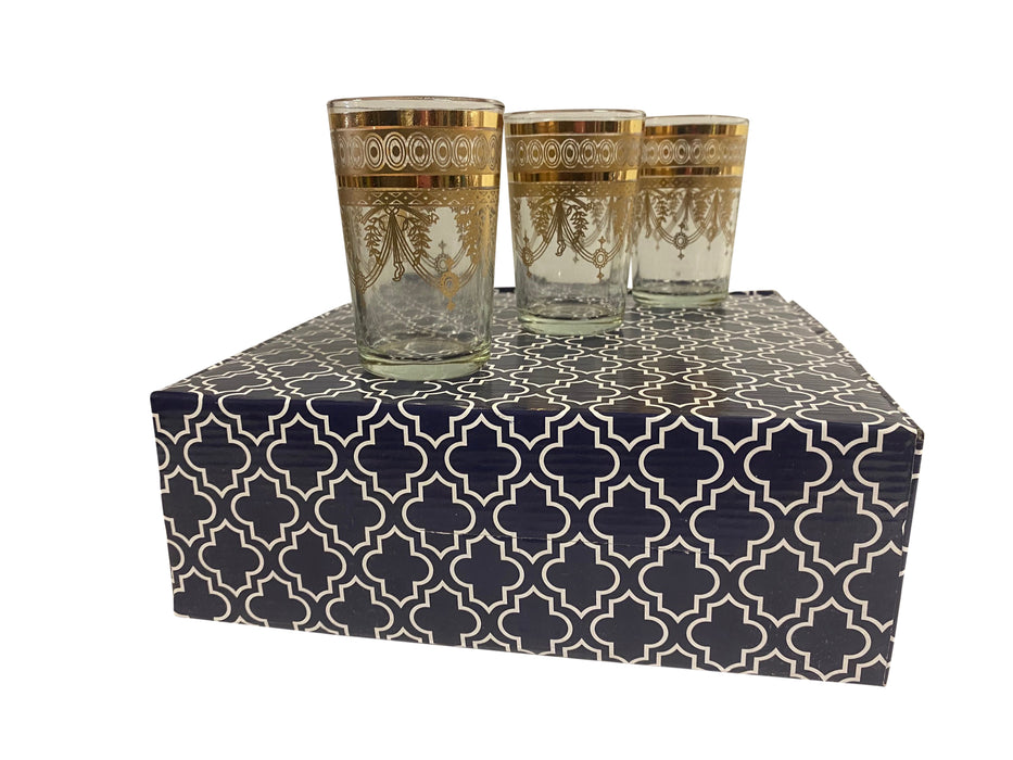 Gold Moroccan Tea Glass Set with Gift Box