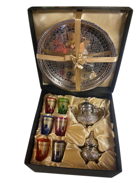 Moroccan Tea Glasses with Tea Pot Gift Box Set