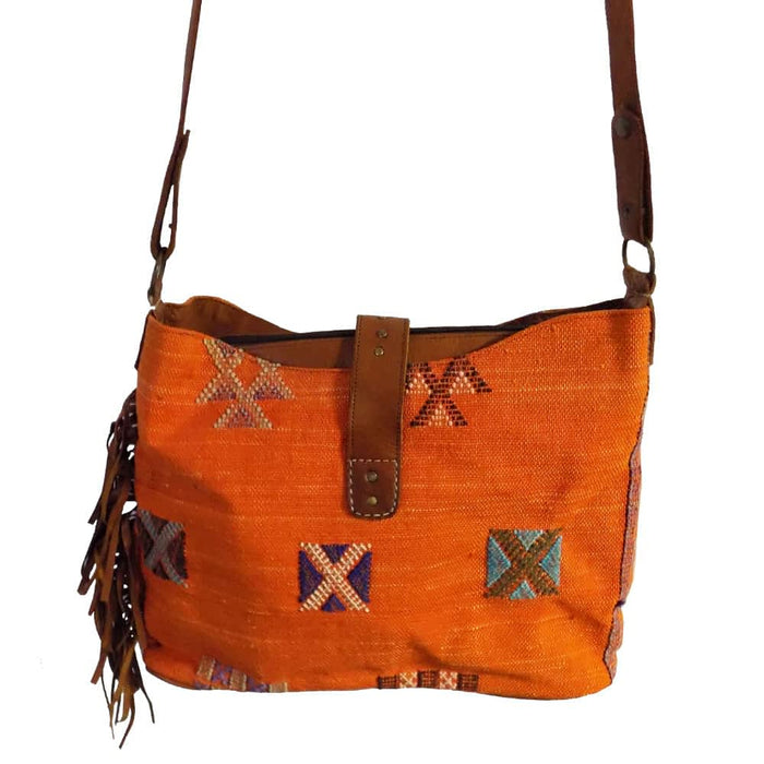 Moroccan Bag and Purse Hand Made Leather Shoulder Bag Orange for Men & Women Bag