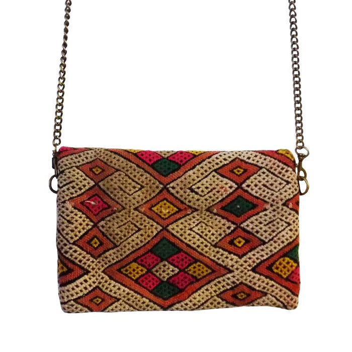 Moroccan Bags and Purses Hand Made Carved Leather Clutch Tote Wallet Bag Multico