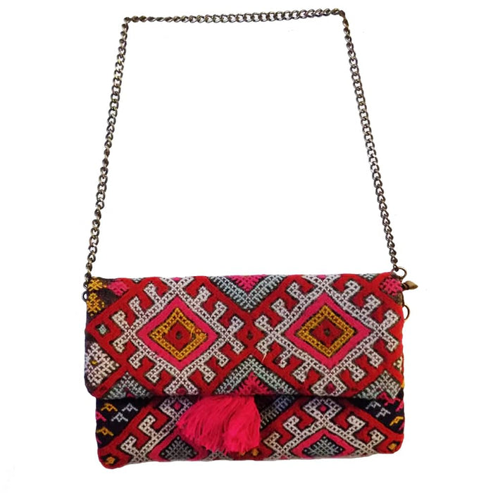 Moroccan Bags and Purses Hand Made Carved Leather Clutch Tote Wallet Bag Red and Pink