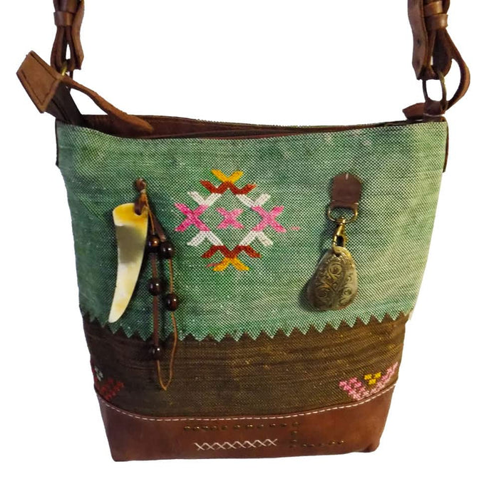 Moroccan Hand Bag Shoulder Tote Handmade Bag Green
