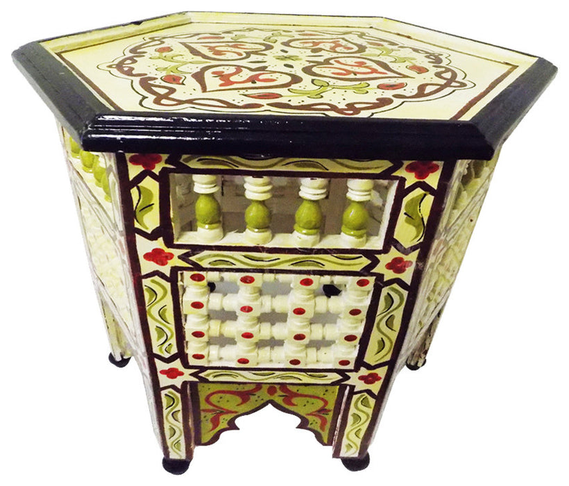 Moroccan handpainted Moucharabieh Octagonal Side Table Nightstand