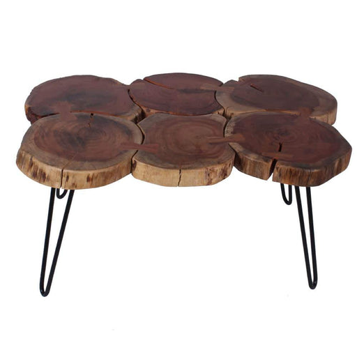 Acacia Wood Leg Coffee Table with Iron Legs