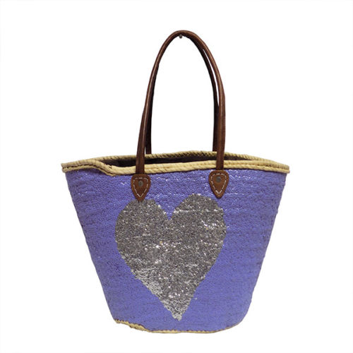 French Market Basket Sparkling Leather Straw Bag Star silver heart & Purple