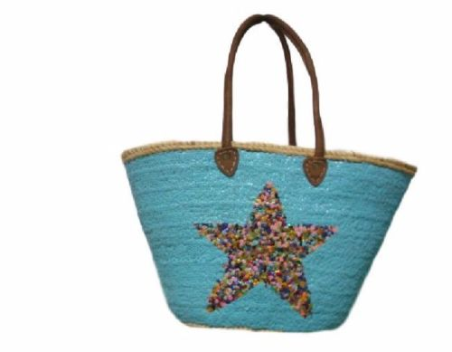 Moroccan French Market Basket Star Blue and Gold