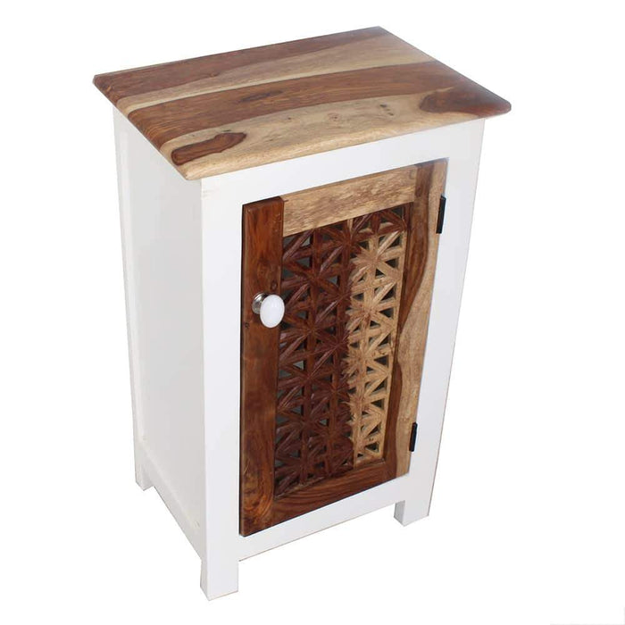 Beach House Modern Top Sheesham Wood Accent Nightstand-End Table