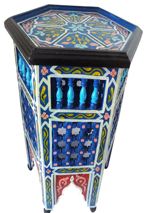 Moroccan Blue Moucharabieh Octagonal Side Table Nightstand