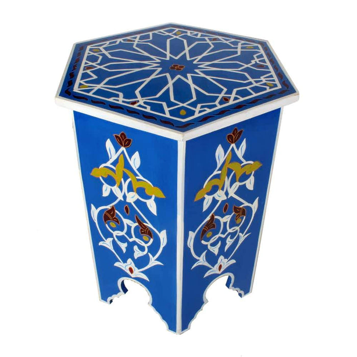 Blue Sky Moroccan Hand-painted end table
