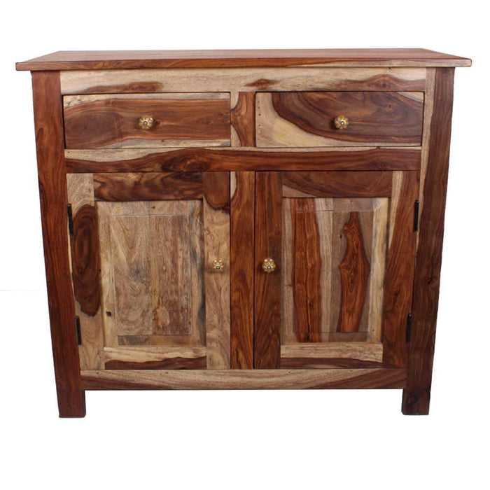 Bostan Rustic Solid Wood Bedside with Double Doors & Double Drawers