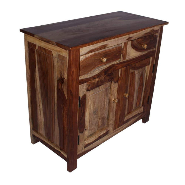 bostan rustic solid wood bed site with double door & double drawers