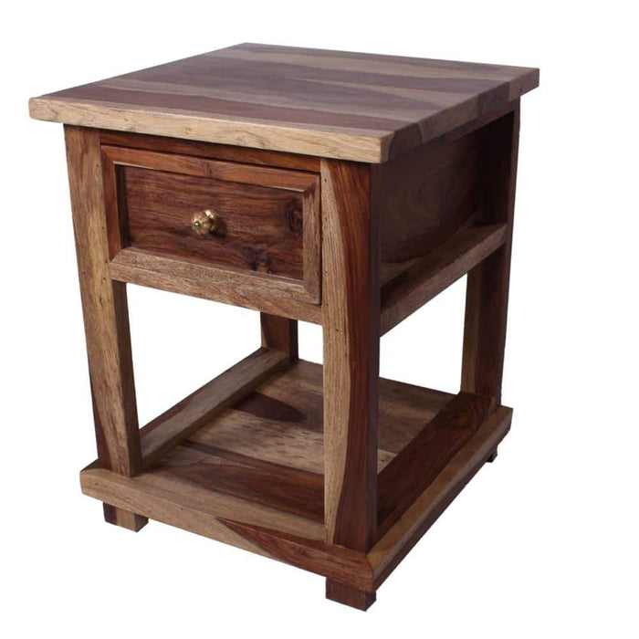 Delhi Handcrafted Two Toned Solid Wood Nightstand with Drawer