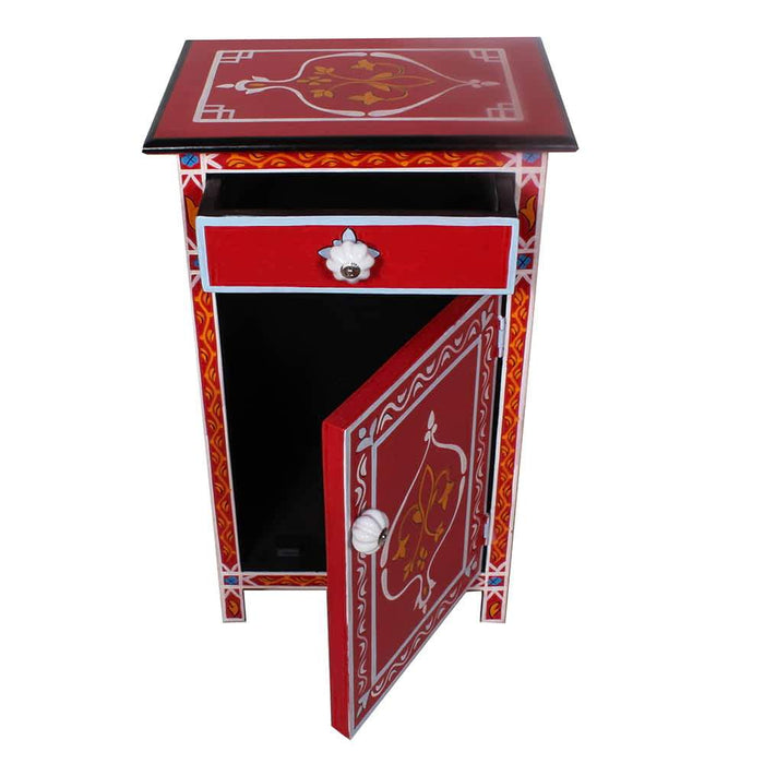 Fez Top Mango Wood Handpainted 1 Drawer Nightstand-End Table