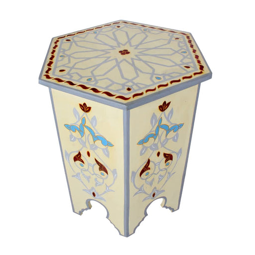 Flower Handpainted Moroccan Accent End Table NightStand