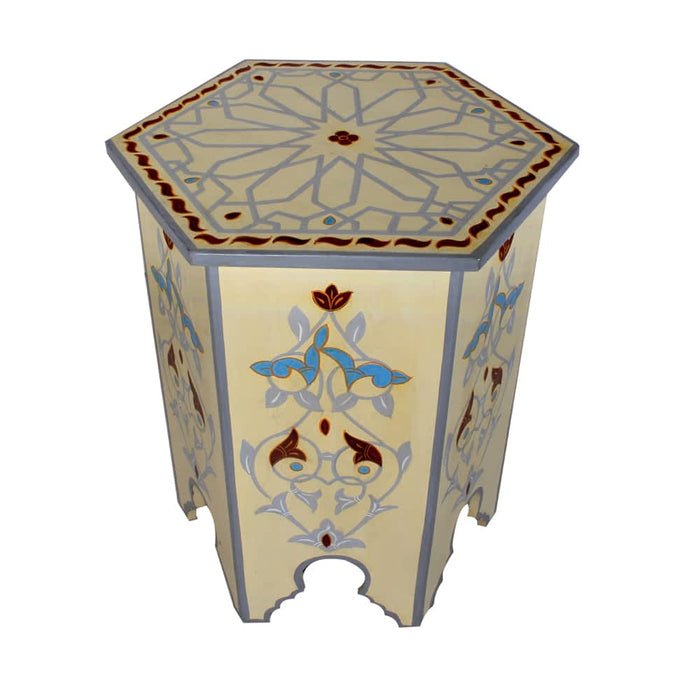 flower handpainted moroccan end table night stand accent table