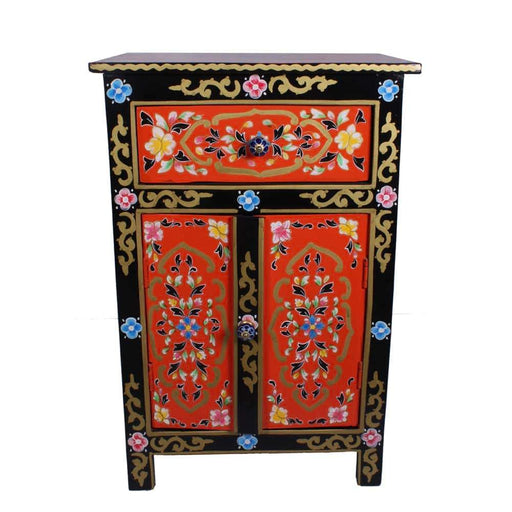 Hand Painted Solid Mango Wood Nightstand with Drawer & Double Door