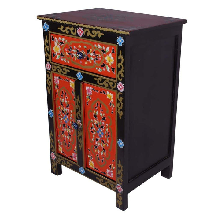 Hand Painted Nightstand Mango Wood with Double Door & 1 Drawer
