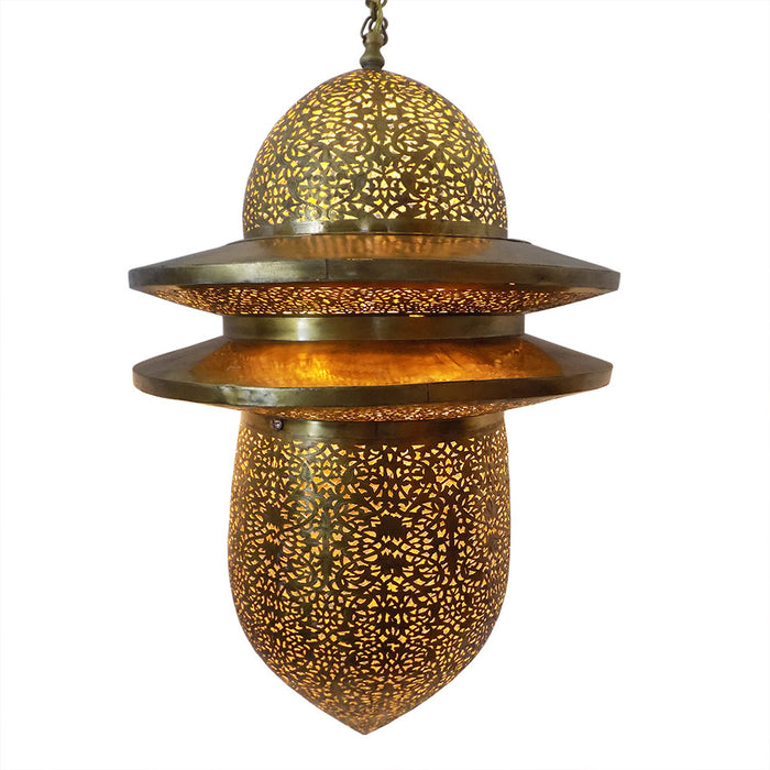 Moroccan Spherical Shaped Perforated Design Brass Finished Hanging Lantern