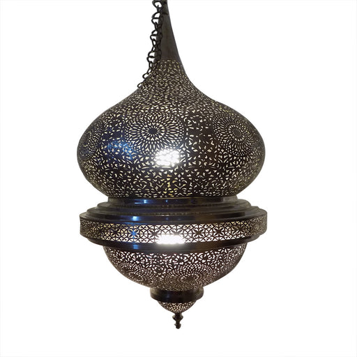 Moroccan Spherical-Shaped Perforated Design Silver Hanging Lantern