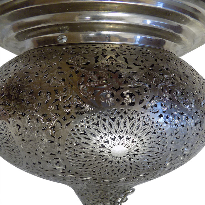 Moroccan Spherical-Shaped Perforated Design Silver Finished Hanging Lantern XL
