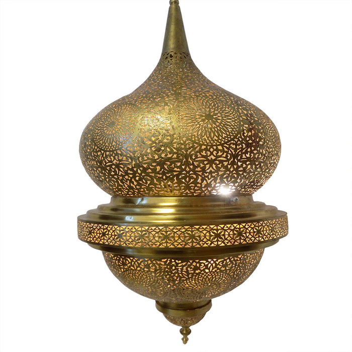 Moroccan Spherical-Shaped Perforated Design Brass Finished Hanging Lantern XL