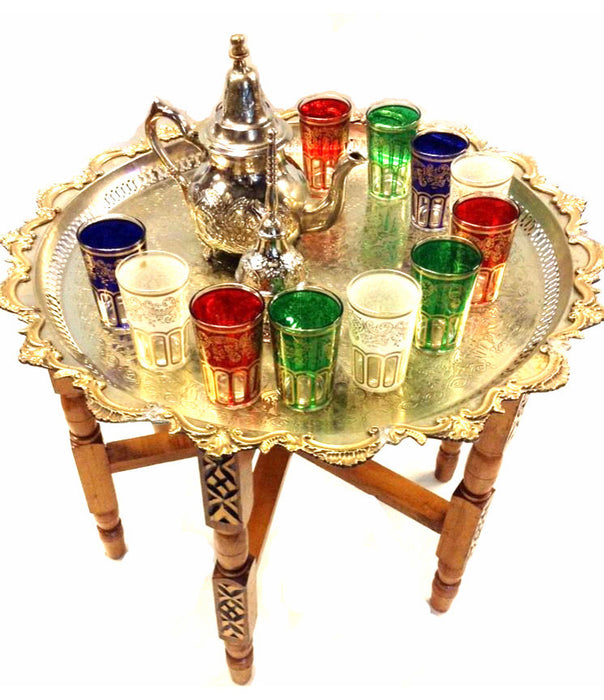 Vintage Traditional Moroccan Folding Tea Table & Silver Teapot Glass Set