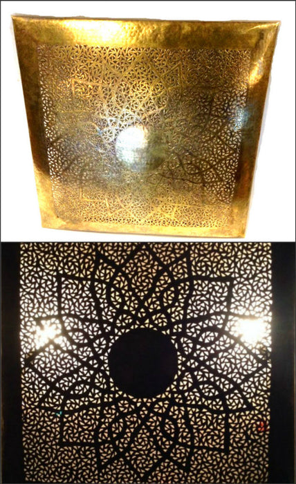 "Moroccan Wall Decor Lamp Square Carved & Hammered Patina Brass Sconce 19"" Medium"