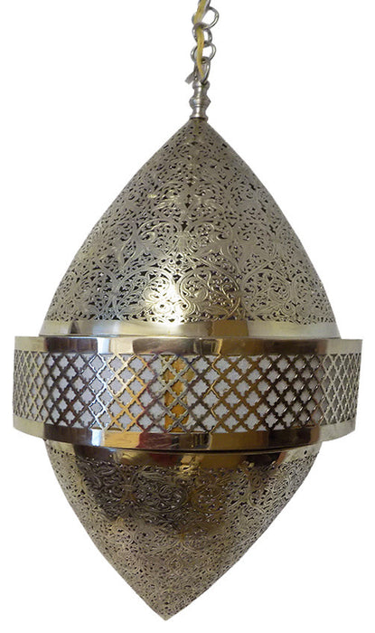 Magnificent Moroccan pendant lamp by master artisans in brass XXL