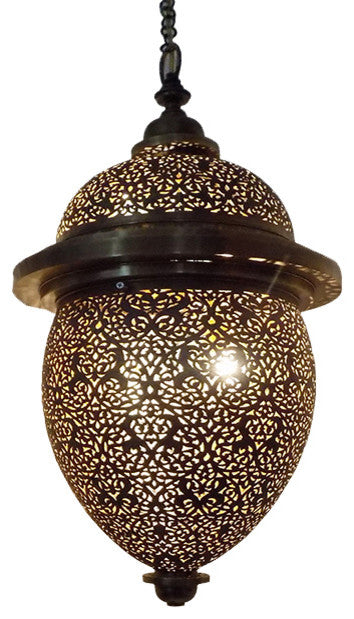 Moroccan Spherical-Shaped Perforated Design Brass Hanging Lantern