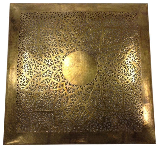 Moroccan Square Wall Decor Lamp Carved & Hammered Patina Brass Sconce
