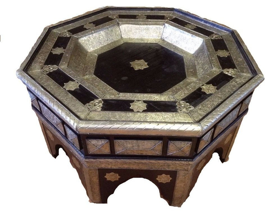Moroccan Octagonal Center Table Silver/Black Engraved Metal Arabic Furniture