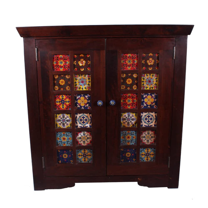 miami solid-wood cabinet with handpainted tiles & double door