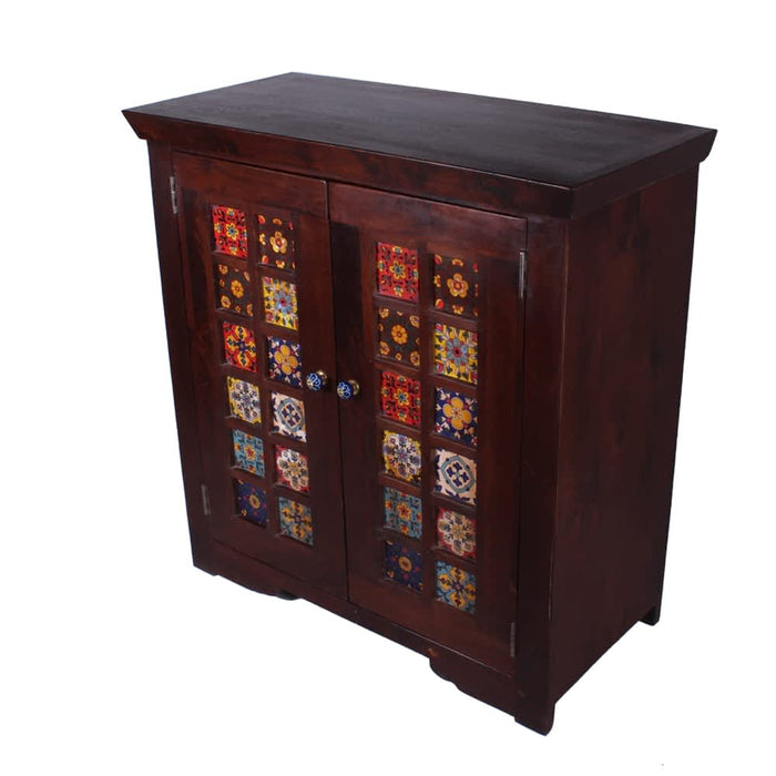 Miami Indian solid wood handpainted double door cabinet with tiles