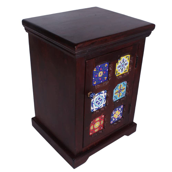 Miami Solid Wood Handpainted Nightstand with Tiles & 1 Door