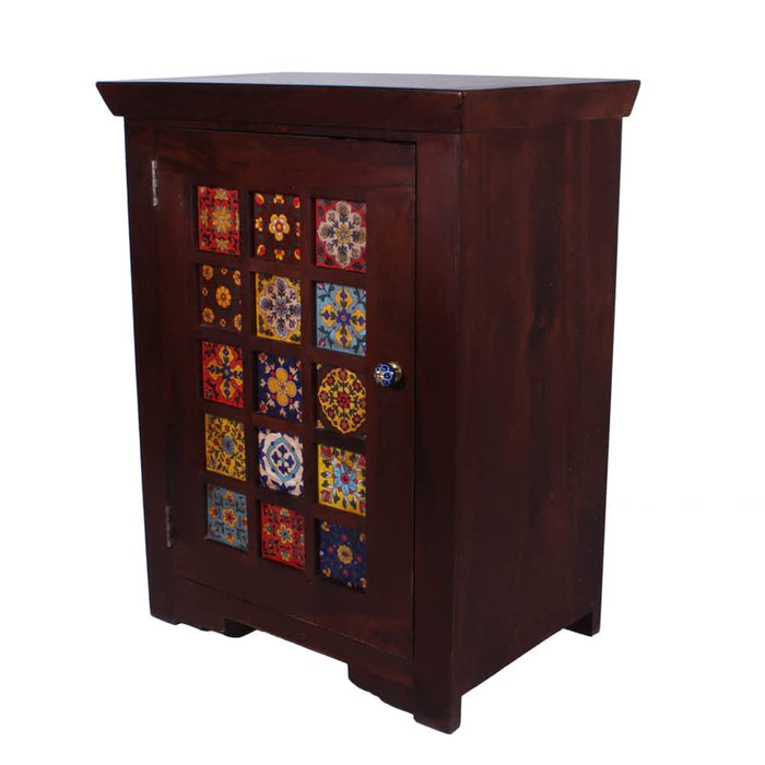 Miami Mediterranean Solid Wood Handpainted Nightstands with 1 Door & Tiles